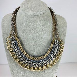 "Statement Necklace Gold Silver Hematite Beads 21"""